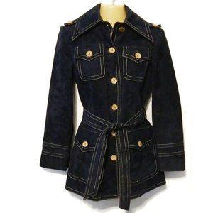 Vintage 70s navy blue faux suede jacket